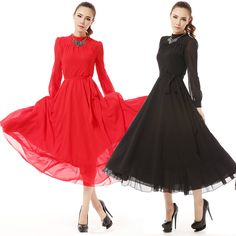 New arrival 2013 autumn winter star style women's long sleeve fashion elegant maxi faux silk chiffon dresses black,red S,M,L $27.99