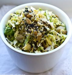 Seedy Tahini Vegan Cole Slaw Recipe, Spiced with Chili Powder, Cumin, and Coriander (vegan, gluten-free) -- Healthy. Slaw Recipes, Healthy Salad Recipes, Raw Food Recipes, Vegetarian Recipes, Cooking Recipes, Vegan Food, Vegan Meals, Healthy Lunches, Free Recipes