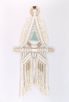 Hand crafted modern macramé wall hanging by May Sterchi of Himo Art. Made of rope, brass and wood with painted elements. inches wide x 23 inches long More with May of Himo Art here. Macrame Knots, Micro Macrame, Modern Macrame, Macrame Plant, Rope Art, Macrame Curtain, Macrame Projects, Macrame Patterns, Woven Wall Hanging