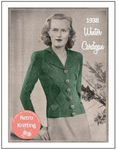 74ef5bf16a98 1930s Winter Cardigan Vintage Knitting Pattern - PDF Instant Download