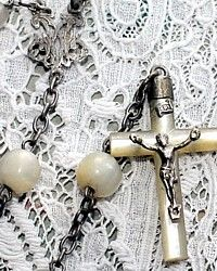 Antique French Mother of Pearl & Sterling Rosary