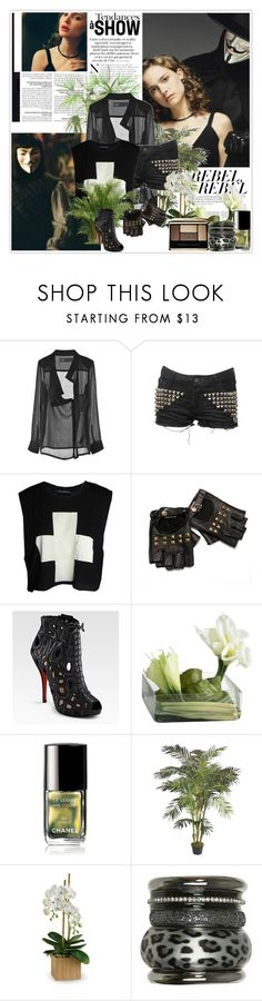 """V for Vendetta"" by nickianna ❤ liked on Polyvore featuring HUGO, Wildfox, Christian Louboutin, Emma Watson, Calla, Chanel, PLANT, Wet Seal and Guerlain"