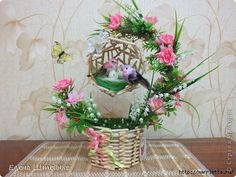 This Wood Floral Topiary is great for home decoration, please take a look at the picture tutorial to learn how to make it yourself easily. Easter Crafts For Kids, Christmas Crafts For Kids, Holiday Crafts, Toothpick Crafts, Master Class, Recycled Crafts, Flower Crafts, Flower Decorations, Paper Flowers