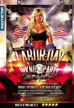 Labor Day Weekend Party Flyer Template #design Download: http://graphicriver.net/item/labor-day-weekend-party-flyer/12596925?ref=ksioks