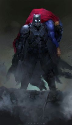 "longlivethebat-universe: ""Batman v Superman by Kaminari Ame """