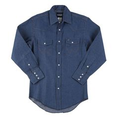 145 in. x 32 in. Men's Cowboy Cut Western Work Shirt, Blue