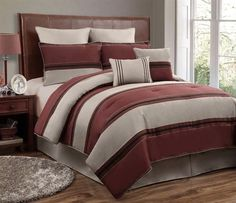 12pc CMBG. Red/Beige/Black Luxury Size: Queen Sheet Set Color: Silver-Grey