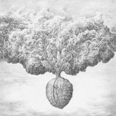 """Blossoming nut"" by Vilius Sileika (pencil drawing)    #guliveris #viliussileika #pencil #drawing #nut #chessnut #blossom #paper #draw #surrealism #surreal #tree #clouds #dream #face #girl #sky #grey #white #powder #wings #art #artwork #handmade #handrawn #decor #ornamental #steampunk #artist"