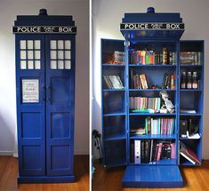 tardis out of doctor who, book shelf. I love the book shelf part and my boyfriend likes the tardis part, a good compromise The Tardis, Tardis Door, Tardis Blue, My New Room, My Room, Nerd Room, Nerd Cave, Man Cave, Tardis Bookshelf