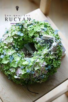 겹수국 플라워 리스(Flower Wreath)_[플라워스쿨,루시안]취미반 플라워레슨 :: 네이버 블로그