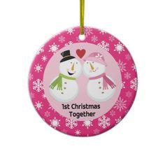 1st Christmas Together Snowman Love Christmas Ornament
