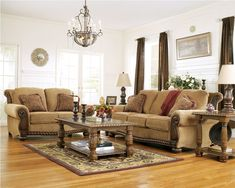 wood and fabric sofa   Burnham Traditional Fabric Sofa Set