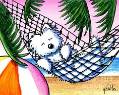Vacation Westie art print by KiniArt  Watch the 'making of' video on KiniArt youtube channel at:  http://www.youtube.com/watch?v=Kfg5bjTpE0w=plcp