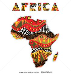 Africa continent ornate with ethnic pattern. Design element with bright tribal and wild animals skin ornament at abstract Africa continent silhouette. Vector file is African Quilts, African Fabric, Africa Silhouette, Silhouette Vector, Orishas Yoruba, Africa Continent, African Tattoo, Afrique Art, African Art Paintings