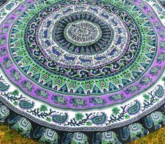 Round Bohemian Tapestry Purple Elephant Parade Boho Mandala Tapestry For Beach…