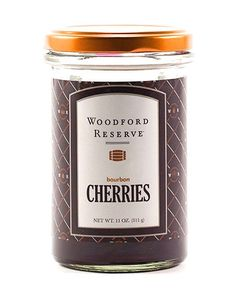Muddle, garnish, and top your favorite cocktails with Woodford Reserve® Bourbon Cherries. Gorgeous deep ruby color with a long stem and no pit. Made from natura