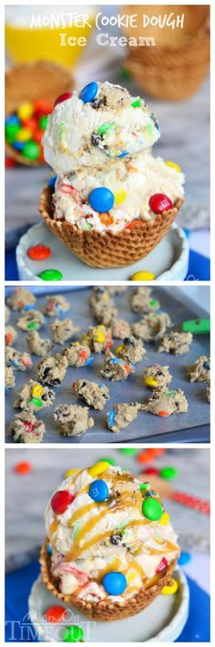 Monster Cookie Dough Ice Cream - made with eggless, edible cookie dough. NO MACHINE NEEDED | http://MomOnTimeout.com