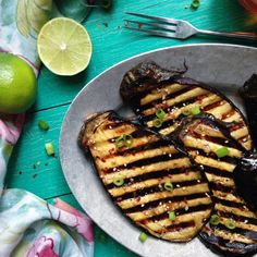 Lime, sesame oil, and honey make this grilled eggplant pop. Comes together quick and is the perfect summer side dish.