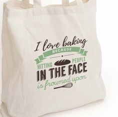 """New to DesignGenesStudio on Etsy: Gift for her I love baking eco tote bag """"because punching people is frowned upon"""" Baker gift food lover gift Canvas Eco Tote Bag (17.50 USD)"""