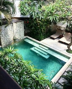 Small Swimming Pools, Small Pools, Swimming Pools Backyard, Swimming Pool Designs, Small Backyards, Indoor Swimming, Swimming Ponds, Small Courtyard Gardens, Small Courtyards