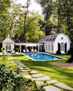 The Perfect Pool House is part of Dream house exterior - Today I thought I'd talk about the ultimate summer living accessory, the pool house the perfect great escape! Pool House Designs, Backyard Pool Designs, Backyard Ideas, Backyard Pool Landscaping, Swimming Pools Backyard, Garden Pool, Backyard With Pool, Pool Fence, Outdoor Spaces
