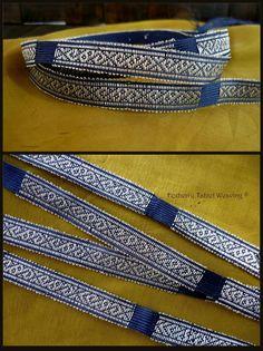 Reconstruction tape from Shestovica (Chernigov. Ukraine). 100% silk, spinning silver. 20 segments х 10cm. width 11mm.  By Anastasia Garanina