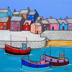 Paul Bursnall - Paintings for Sale - Three fishing boats pulled up on the beach with houses on the harbour wall behind. Painted on box c - Best Fishing Boats, Fishing Boats For Sale, Paintings I Love, Paintings For Sale, Original Paintings, Boat Drawing, Seaside Art, Art Populaire, Boat Painting