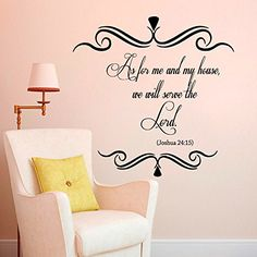 Wall Decals Vinyl Sticker As for Me and My House We Will Serve the Lord Bible Verses Joshua 24:15 Quote Quotes Nursery Baby Kids Children Room Decal Home Decor Murals Bedroom Studio Dorm: Amazon.co.uk: Kitchen & Home