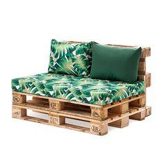 Designer Prints Euro Pallet Seating Cushion Pads G Garden Furniture Inspiration, Garden Furniture Design, Furniture Projects, Pallet Furniture Outdoor Couch, Pallet Sofa, Furniture From Pallets, Outdoor Pallet Seating, Outside Furniture Patio, Homemade Outdoor Furniture