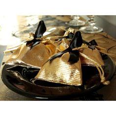 Sachet à dragées or brillant en tissu les 6