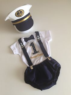 Elite Ship Captain Cake Smash Outfit Boy...Baby boy 1st Birthday Outfit...Photo prop... halloween outfit by BuBBlingBoutique on Etsy