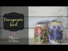 Pote de Vidro Reciclado e Decorado com Decoupage e Craquelê (ARTESANATO, DIY, RECICLAGEM) - YouTube