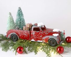 red truck christmas vintage red truck and christmas tree vintage bottle brush tree country farmhouse christmas decor retro christmas