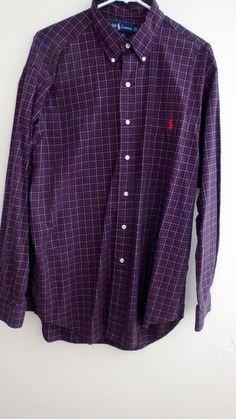 Vintage Ralph Lauren Polo Classic Fit Sz L Plaid & Checks Long Sleeve Purple Red #PoloRalphLauren #ButtonFront
