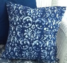"""Indigo pillow. Blue ikat pillow. The look of shibori. boho pillow. Handmade blue and white toss pillow. 18"""" Decorator pillow. Throw pillow. by sterlingstitchery on Etsy"""