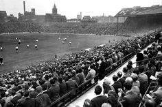 United return to Old Trafford in 1949 in the new uncovered stand after the Blitz. Manchester, UK.