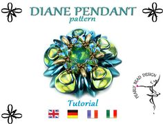 DIANE PENDANT pattern tutorial with rose petal by PearlyBeadDesign