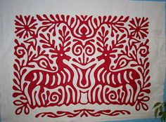 Wow.  Deer paper cut design, an exercise in needle turn applique, by Ann Champion