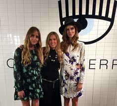 Valentina Ferragni, Giorgia Marin and Chiara Ferragni at the presentation of the new Chiara Ferragni shoes collection during the Milan Fashion Week, on September 27, 2015 in Milan, Italy.