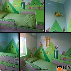 There are so many great home decorating ideas out there and this is one that's fantastic for your kids. Surprise your kids this year with your own unique Mario DIY kids bedroom ideas. Super Mario Room, Nintendo Room, Ideas Habitaciones, Gamer Room, Kids Bedroom, Bedroom Ideas, Bedroom Art, Warm Bedroom, Trendy Bedroom