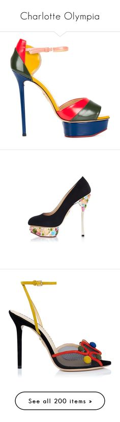 """Charlotte Olympia"" by alyssa23 ❤ liked on Polyvore featuring shoes, sandals, colorful sandals, platform stilettos, multi color sandals, stiletto sandals, open toe sandals, pumps, high heel shoes and high heel platform shoes"