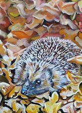 Original Oil on Canvas painting 'Autumn Hedgehog' 30 x 22cm