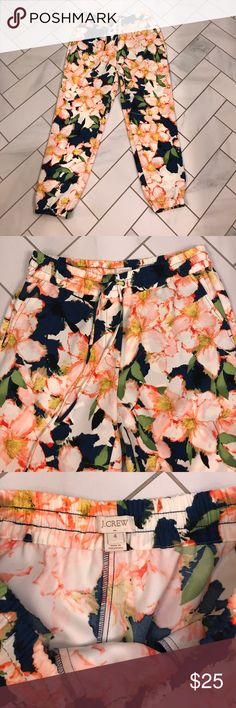 NWOT J. Crew drapey drawstring pants size 4 Never worn, NWOT J. Crew drapey drawstring pants with awesome floral pattern! Background color is navy blue. Size 4. Slanted pockets and elastic waistband with drawstring. Elastic at bottom of legs. Relaxed through hip and thigh with straight leg. Let me know if you have any questions! J. Crew Pants