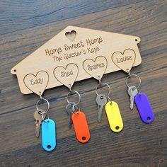 Housewarming New Home Family Keyring Keys Hanger Set Love Heart Keyrings Gift