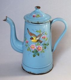 "French Coffee Pot from 1890-1910. Handpainted with bird and flowers on one side, butterfly on the other. Etoile P.E.N. 9"" tall"