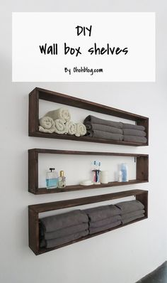DIY Bathroom Storage Ideas - DIY Wall Box Shelves - Best Solutions for Under Sink Organization, Countertop Jars and Boxes, Counter Caddy With Mason Jars, Over Toilet Ideas and Shelves, Easy Tips and Tricks for Small Spaces To Organize Bath Products Diy Wall Shelves, Floating Shelves, Wall Bookshelves, Easy Shelves, Bookshelf Design, Corner Shelves, Decorating Wall Shelves, Salon Shelves, Wood Box Shelves