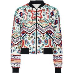 Alice + Olivia Lonnie embellished silk-chiffon bomber jacket (18.745 ARS) ❤ liked on Polyvore featuring outerwear, jackets, coats, tops, white flight jacket, white jacket, zip jacket, embellished bomber jacket and white cropped jacket