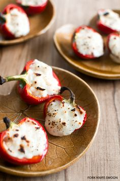 Goat Cheese Stuffed Cherry Peppers via Fork Knife Swoon / yummy food Appetizers For Party, Appetizer Recipes, Cheese Recipes, Cooking Recipes, Vegetarian Recipes, Catering Recipes, Shrimp Appetizers, Nutella Recipes, Shrimp Recipes
