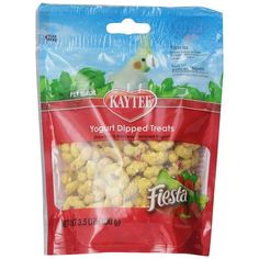 Kaytee Fiesta Yogurt Dipped Strawberry Banana treats for Pet Birds blend extreme flavors, real fruit pieces and a creamy yogurt coating for a colorful explosion of taste and texture! These dipped treats are a wholesome, healthy way to give your pet