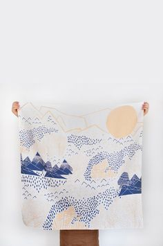 Mountain Blossom Furoshiki - traditional Japanese wrapping cloth, or to use as a scarf/shawl